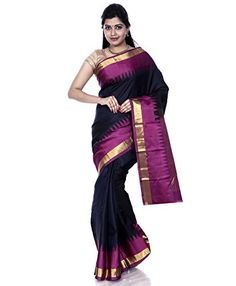 """Mandakini - Indian Women's Kanchipuram - Handloom - Pure Silk Saree (Black-Dark Pink) - Winter Collection - Mandakini Kanchipuram (Kanjivaram) Pure Silk Sarees""""Elegance of a woman and charm of her smile, nothing can top that, till she puts on her mother's saree (sari) for the first time.""""Mandakini brings you wide range of Kanchipuram Handloom Pure Silk Saree with Blouse Piece. These Sarees (saris) have..."""