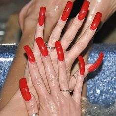 Red long nails