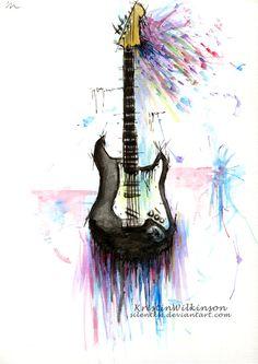 """""""Guitarra"""" Autor: Kristin Wilkinson Artista canadiense de 22 años, que usa múltiples técnicas. En este dibujo usa la acuarela de diferentes colores. En Deviant Art podemos encontrar su galería de dibujos."""