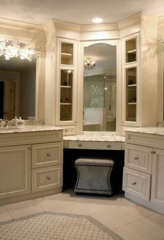 Vanity in the bathroom. Love the divided sinks, gives everything it's own place.