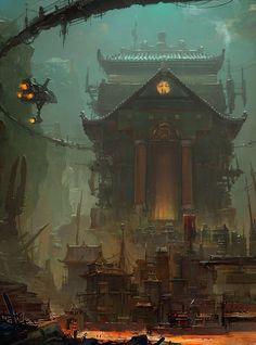 Su Jian makes some great, gritty Cyberpunk art : Cyberpunk Fantasy City, 3d Fantasy, Fantasy Places, Fantasy Kunst, Fantasy Landscape, Fantasy World, Landscape Artwork, Environment Concept, Environment Design