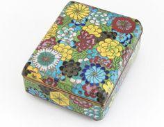 Vintage Cloisonné Cigarette Box and Match Holder with Floral Motif 3