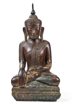 LACQUERED AND GILT-WOOD BUDDHA BURMA, SHAN, 18TH-19TH CENTURY - Deity sitting [...] | lot 126 | Mobilier, Objets d'Art, Peintures chez Aste Bolaffi