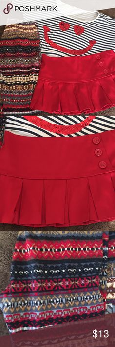 3 ps bundle💋 Bundle of 3 ps 1 red satin pleated skirt 1 multicolored legging 1 striped top smiley face in sequins All 3 are in good condition Ask me questions & let me know if you need more pics😍 Other