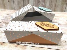 Diese Schachtel mit Klappdeckel kannst du ganz schnell und einfach basteln. Und dazu das Gratis-Designerpapier aus der Sale-a-Bration Aktion von Stampin Up!