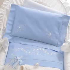 Baby Doll Bed, Doll Beds, Baby Crib Sheets, Baby Bedding Sets, Designer Bed Sheets, Embroidered Bedding, Baby Embroidery, Cross Stitch Baby, Baby Crafts