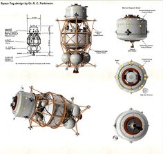 Space Tug design by Dr. Parkinson for his 1975 space fleet. Spaceship Design, Spaceship Concept, Concept Ships, Concept Art, Arte Sci Fi, Sci Fi Art, Kerbal Space Program, William Black, Space And Astronomy