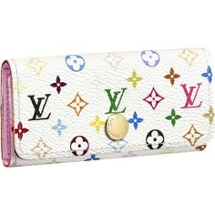 LOUIS VUITTON MONOGRAM MULTICOLORE 4 KEY HOLDER M93731 - Monogram Multicolore canvas, calf leather lining, golden brass pieces  - Snap closure  - Keys are attached to a brass hinge with four hooks  - Safety key holder  - 7 cm maximum key size  - Patch pocket under the keys for papers or receipts