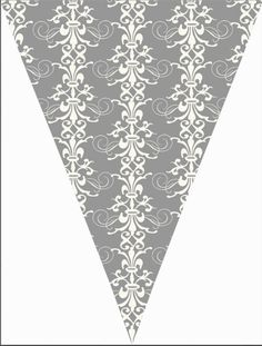 damask Flag Garland, Bunting Banner, Party Banners, Shower Banners, Save The Date Designs, Paper Cones, Pocket Scrapbooking, Print And Cut, Vintage Images