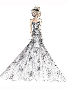 Jessica Simpson Wedding Gown Sketch