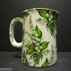 Heron Cross Pottery Lilly Of The Valley Chintz English Pint Cream Jug Lily Of The Valley Flowers, Love Vintage, Sweet Violets, Fru Fru, Blue China, China Patterns, China Porcelain, Shades Of Green, Shabby