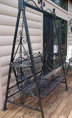 Perennial Flower Gardening - 5 Methods For A Great Backyard Hand Forged Handmade Victorian Ornate Wrought Iron Achitectural Garden Porch Swing. Via Etsy.