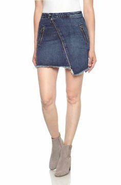 Joe's Asymmetrical Zip Denim Skirt