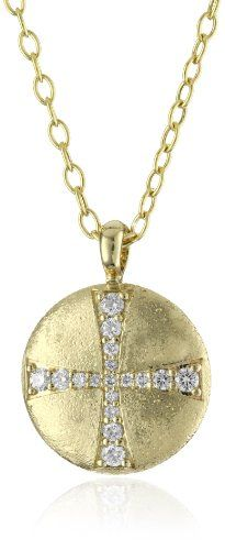 Mizuki 14k Large Diamond Cross Medallion Pendant Necklace