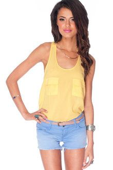 Pocketed Racerback Tank Top in Yellow