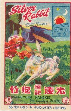 Silver Rabbit firecracker label.