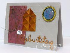 Männerkarte mit Geometric Prägefolder und Videoanleitung | Kreativwerkstatt Creative, Up, Videos, Tableware, Paper, Man Card, Creative Ideas, Invitations, Gifts