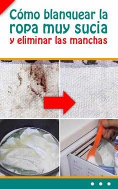 Cómo blanquear la ropa muy sucia y eliminar las manchas #ropa #manchas #eliminar #blanquear #lavado #lavadora Cool Stuff, Breakfast, Tips, Food, Ideas, Outfit, Home, Household Tips, Tips And Tricks