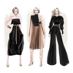 Design by Veronika Akhmatova . Fashion Design Sketchbook, Fashion Design Portfolio, Fashion Design Drawings, Fashion Sketches, Drawing Fashion, Fashion Illustration Dresses, Fashion Illustrations, Design Illustrations, Fashion Painting