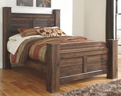 Quinn Dark Brown Queen Bed with Storage Footboard from Gardner-White Furniture Bedroom Sets, Home Bedroom, Bedding Sets, Camas King Size, Storage Bed Queen, Cama King, Queen Size Headboard, Rustic Bedding, Wood Beds