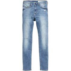 Tech Stretch Skinny Low Jeans $49.99 ($50) via Polyvore featuring jeans, stretch denim skinny jeans, denim skinny jeans, super skinny jeans, skinny jeans and blue jeans