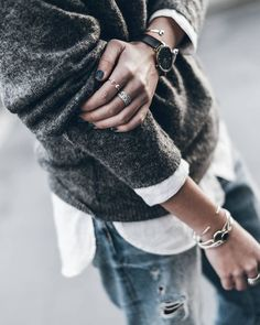 white shirt. grey knit. boyfriend jeans. #streetstyle