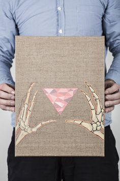 Polygon Painting Skull Hands