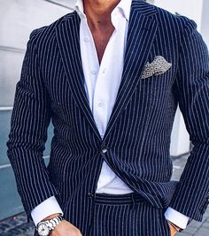 Navy with stripes and shirt by @profuomo #Elegance #Fashion #Menfashion #Menstyle #Luxury #Dapper #Class #Sartorial #Style #Lookcool #Trendy #Bespoke #Dandy #Classy #Awesome #Amazing #Tailoring #Stylishmen #Gentlemanstyle #Gent #Outfit #TimelessElegance #Charming #Apparel #Clothing #Elegant #Instafashion