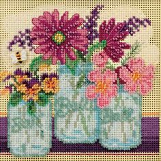 Amazon.com: Cut Flowers Beaded Counted Cross Stitch Kit Mill Hill 2016 Buttons & Beads Spring MH141611
