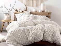 Chenille embroidery duvet cover set Linen House at Simons Maison. All-white sheets with delicate geometric chenille detailing, spun from invitingly soft cotton with a chic natural aesthetic and never-get-out-of-bed appeal. White Sheets, Quilt Cover Sets, My New Room, Luxury Bedding, Boho Bedding, Boho Comforters, White Quilt Bedding, Bohemian Comforter Sets, White Comforter Bedroom