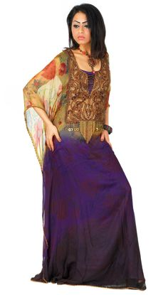 Aljalabiya.com: 'Orchid Bloom' Butterfly chiffon jalabiya with hand and machine embroidery (N-11237) $169.00