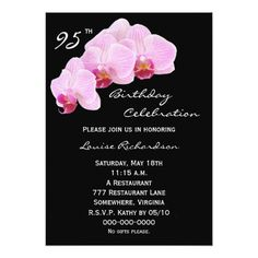 95th Birthday Party Invitation Orchids 50th Invitations 75th Parties 65th