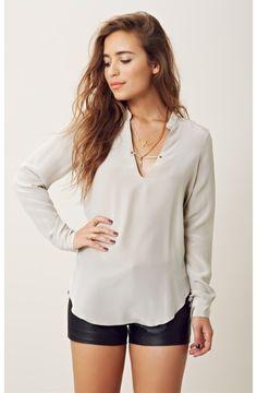 rory becca | ferris studded long sleeve blouse