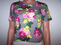 Divided H&M Size XS Floral Crop Knit Top  #HM #CropTop #Casual