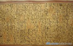 Egyptian hieroglyphs on papyrus, which was a plant grown in the Nile River delta. The pictorial lettering shown here eventually led to the basic lettering of Roman and Arabic script. Egyptian Names, Ancient Egyptian Art, Ancient History, Where The Sun Sets, Canopic Jars, Valley Of The Kings, Spiritual Messages, African Artists