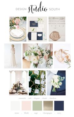 Mood Board:: stone, blush, sage, champagne, + navy