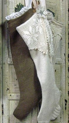 Burlap stocking with white ruffle, white knit stocking with crochet trim, cream crochet stocking