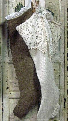 Burlap stocking with white ruffle, white knit stocking with crochet trim, cream crochet stocking