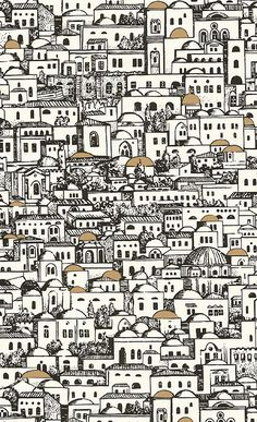 Wallpaper A Fornasetti wallpaper depicting villas in black and white with occasional gilded dome roofs