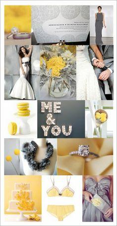 Inspiration: Gray and Yellow - The Bride's Guide : Martha Stewart Weddings Wedding Themes, Wedding Colors, Wedding Styles, Our Wedding, Dream Wedding, Wedding Decorations, Wedding Dreams, Wedding Bells, Wedding Stuff