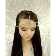 Antiqued Silver and Emerald Headchain, Medieval Princess Headpiece,... ($15) ❤ liked on Polyvore featuring accessories, hair accessories, bohemian hair accessories and boho hair accessories