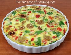 Frittata with Jalapeno Chicken Sausage, Spinach, Roasted Bell Peppers, and Feta | For the Love of Cooking