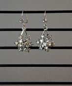 Earring Vintage Chandelier Bridal Evening 1950's Crystal Silver