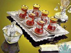 Ottoman Turkish Silver Brass Tea Coffee Saucers Cups Tray Set of 6 FREE SHIPPING #Handmade #Turkish