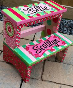 COLOR Childrenu0027s Hand Painted Step Stool by CuteKidCreations on Etsy & Childrenu0027s Hand Painted Step Stool by CuteKidCreations on Etsy ... islam-shia.org