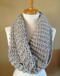 Chunky, soft, handknit infinity scarf by BallAndHook on Etsy