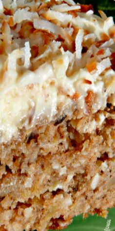 CAKE IS DAIRY FREE! Hawaiian Wedding Cake with Whipped Cream-Cheese Frosting - no need to wait for a wedding to make this delicious pineapple, coconut, walnut, cinnamon and sugar cake that will have you going back for seconds, maybe thirds! Pie Cake, No Bake Cake, Carrot Cake Cheesecake, Köstliche Desserts, Delicious Desserts, Whipped Cream Cheese Frosting, Cream Frosting, Bon Dessert, Sugar Cake