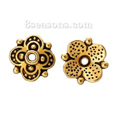 Wholesale - Bead Caps Flower Gold Tone(Fits 10mm Beads) 10mm x 9.7mm,Hole:Approx 1.5mm,300PCs