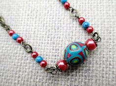 Red Bead Necklace Handmade Beaded Jewelry by LittleBitsOFaith, $27.00
