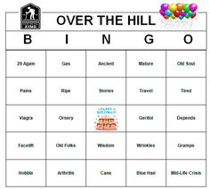 Over The Hill Birthday Party Bingo Game 60 by BuyMeSomeHappiness, $2.49